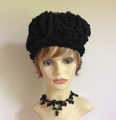 Well Loved Vintage 1940s Black Stocking Fabric Bonnet 20 Inches