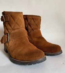 Fat Face Tan Suede Fleece Lined Low Heel Ankle Boots Buckle Detail With Heavy Tread and White Stitch Edging.