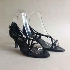 BRUNO MAGLI Black Leather Adjustable Strappy Kitten Heel Sandal Shoe UK 3 EU 36