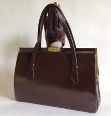 Brown Calf Leather 1950s Vintage Handbag Buff Suede Lining Gold Tone Fittings