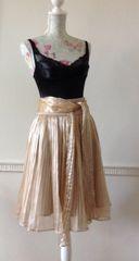 ZOE D Skirt Rose Gold Metallic Fine Pleat Bow Waist Lined Knee Length Size 8 XS