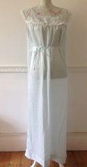 BARBIZON Rapture Vintage 1960s Satin Pale Blue Full Length Sleeveless Night Dress Size Large