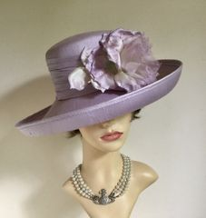 PETER BETTLEY For Harrods Formal Hat Lilac Silk Bouquet Detail Bridal Wedding
