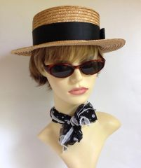 Vintage Light Weight Straw Boater Hat Size 7 Inside measures 22 inches 55.9 cms