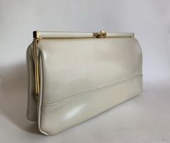 Clarks 1970s Vintage Faux Leather Ivory Clutch Bag With Brown Taffeta Fabric Lining And Gold Toned Fittings