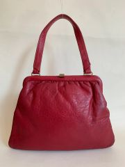 Debenhams Cherry Red Soft Leather 1960s Vintage Handbag With Black Fabric Lining