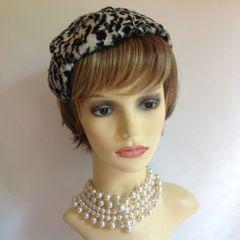 Vintage 1940s Faux Fur Leopard Animal Print Handmade Capulet Hat