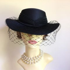 C & A Vintage 1990s Hand Made Black Dress Hat Wedding Funeral Church Races With Net Ribbon and bow detailing.