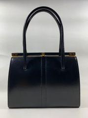 HARMONY Black Faux Leather 1960s Vintage Handbag Fabric Lining Elbief Frame