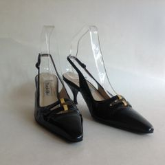 BRUNO BALLIN Black Patent Leather 3 Inch Kitten Heel Slingback Shoes UK 4 EU 37