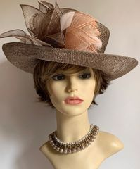 Marks & Spencer Cappuccino Straw Dress Hat Weddings Church Front Leaf Detail