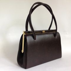 ST England's Vintage 1960s Handbag Brown Faux Leather Buff Suede Lining Elbief Frame.
