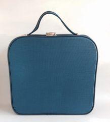 Blue 1960s Vintage Vinyl Travel Overnight Train Vanity Case Red Vinyl Lining