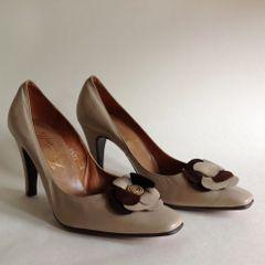 Botticelli Milk Coffee 1960s Vintage Court Shoes Size UK 3 EU 36