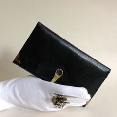 Carlo Leather 1980s Black Vintage Coin Purse Wallet Gold Toned Frame With kiss clasp.