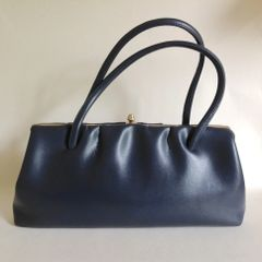 Chamelle by Essell 1960s Soft Faux Leather Dark Blue Vintage Handbag