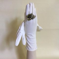 "Vintage 1950s White Lightly Gathered 11"" Nylon Evening Opera Gloves Size 6.5"