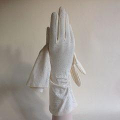 Vintage 1950s Gloves Nylon Ivory Gathered Evening Wedding Church Size 7