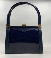 Blue 1960s Vintage Handbag Faux Patent & Leather Blue Fabric Lining Elbeif Frame