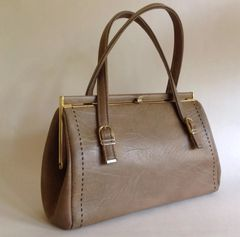 Weymouth American 1960s Weymouth American Handbag Mushroom Brown Faux Leather Vintage Handbag With Brown Fabric Interior.