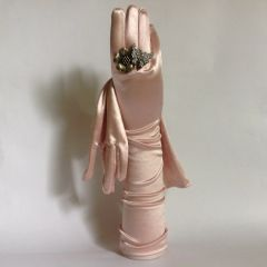 "Vintage 1960s Style Pink Nylon Stretch Opera Wedding Gloves 15"" Size 7 Approx Stretch nylon"