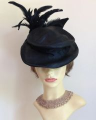 Vintage 1940s Renovated Black Sinamay Percher Hat Large Feather Detail Goodwood