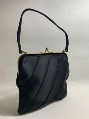 Black Satin 1960s Vintage Handbag With Gold Fabric Lining & Gold Tone Fittings