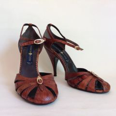Patrick Cox 1990s Vintage Tan All Leather Mary Jane Sandals Shoes Size UK 6 EU 39