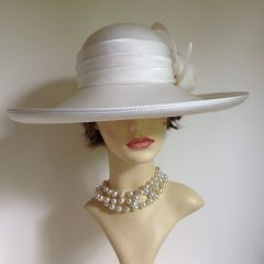 Formal Dress Hat Ivory Fabric Wedding Bridal Church Goodwood Large Ladies Ivory Fabric Wedding Dress Hat With Large Bow and Curved Circle Detail.