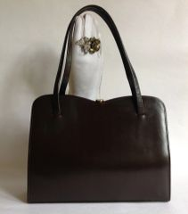 1950s Brown Leather Vintage Handbag Buff Suede Lining With Elbief Frame