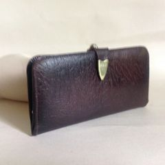Vintage 1950s Coin Purse Wallet Brown Leather With Leather Lining Kiss Clasp