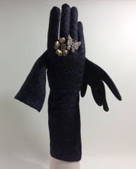 Vintage 1950s Black Embroidery Anglaise Wedding Evening Dress Gloves