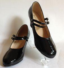 Damart Black Patent Round Toe Vintage Style Mary Jane Shoes Size UK 5 EU 38