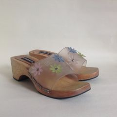 Candie's Floral Opaque Plastic And Wood Slip On Sandals Clogs Sliders UK 4 EU 37