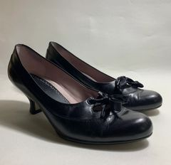 CLARKS Black Bow Front 1930s Vintage Style Leather Shoes Size UK 5.5 EU 38.5.