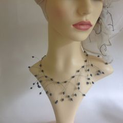 Pewter Coloured Glass Bead & Steel Wire Decorative Delicate Necklace Choker.