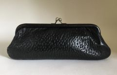 Vintage 1950s Black Clutch Bag Purse In Pore Textured Pigs Leather Suede Lining