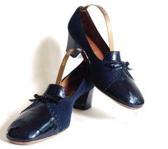 Culture By Sexton Blue Patent Leather & Suede 1960s Vintage Court Shoe UK 5B