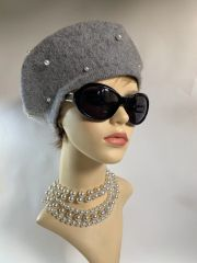 Grey Marl 1960s Inspired French Style Wool Fine Knit Pearl Beaded Beret Unlined