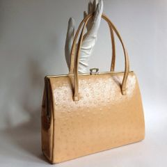 Butterscotch Faux Ostrich Leather 1950s Vintage Handbag With Suede Lining And Elbief Frame