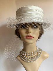 Satin Ivory Hat Long Draping Net Bow And Satin Ribbon Bridal Wedding Fully Lined