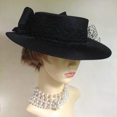 Black Handmade Fabric Formal Hat With Net & Satin Bow Weddings Church Funerals