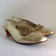 Medway of London Gold All Leather 1960s Vintage Slingback Mid Heel Shoes Size UK 5.5 EU 38.5