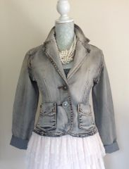 MISS JULIEN Grey Bleached Washed Effect Jeans Denim Jacket Size Small 8