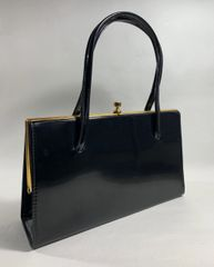 Boots Classic Black 1960s Vintage Handbag Synthetic Patent With Black Fabric Lining