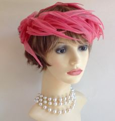 Mitzi Vintage 1960s Pink Fabric Feather Leaf Capulet Hat Weddings Church Races