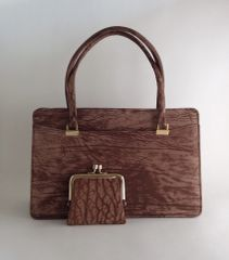 Light Brown 1960s 1970s Vintage Handbag With Dark Brown Leather Interior