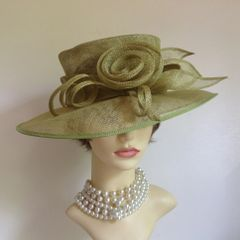 Hand Made Formal Sinamay Hat Lime Light Green Wedding Church Races Goodwood