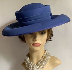 SIMON ELLIS Blue Lilac Large Brim Hat Pleated Ribbon & Hard Bow Detail Formal Wedding