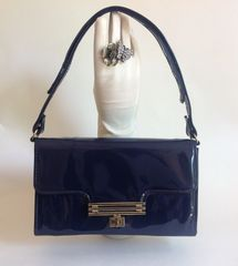 MacLaren Blue Patent 1960s Handbag Shoulder Bag With An Adjustable Strap and Blue Fabric Lining